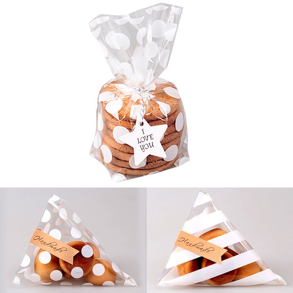 100PCS Cute Flat Cellophane Treat Bag Cookie Candy Gift Bags for Candy Biscuits Snack Baking Package Event Party Decor Supplies