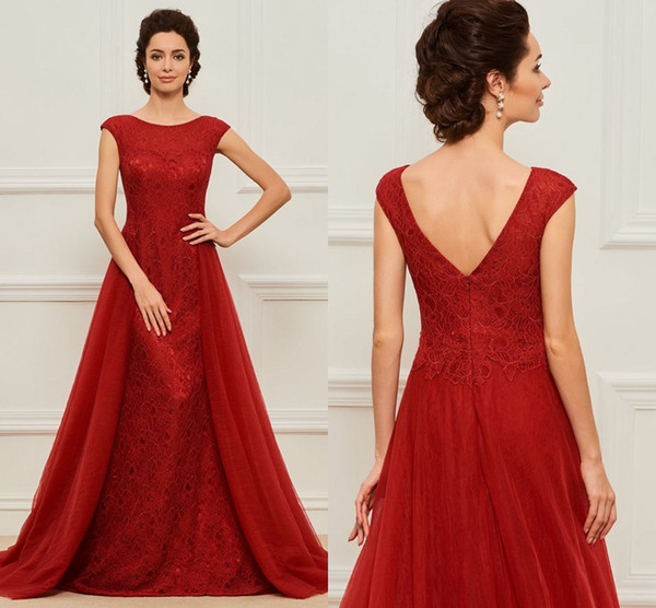 Sexy Dark Red 2019 Mother of the Bride Groom Dresses Cap Short Sleeves Lace Tulle Long Cheap Wedding party Evening Formal Dress