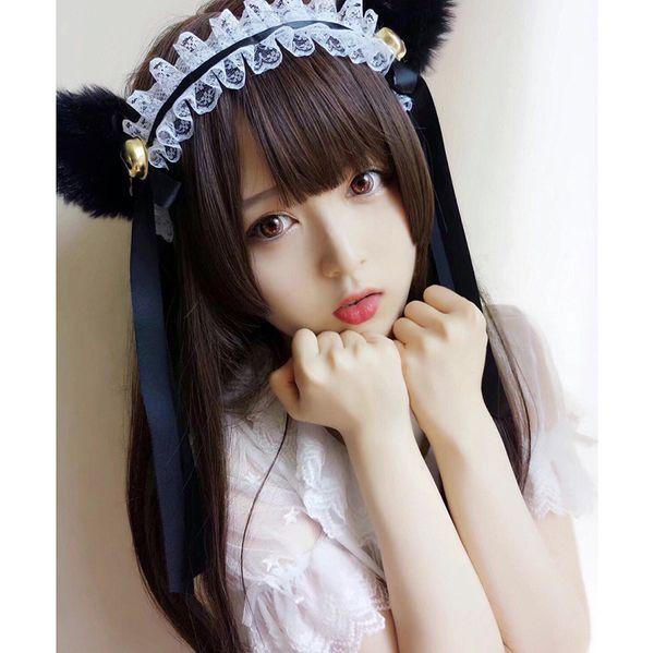 perruque européenne et américaine femme longs cheveux raides de type Jifa boucle méduses plat trois couteau japonais air Liu Haitou