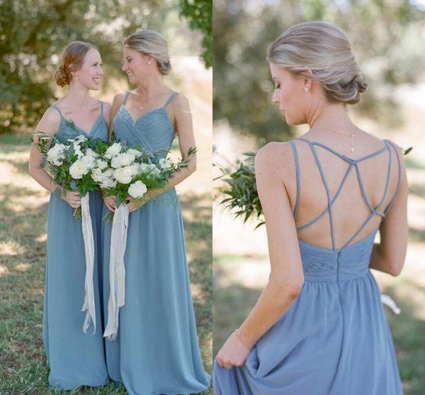 Vestido de novia de dama de honor de una línea con correas cruzadas vestido de fiesta de casamento 2020 vestidos de dama de honor azul boho junior polvoriento