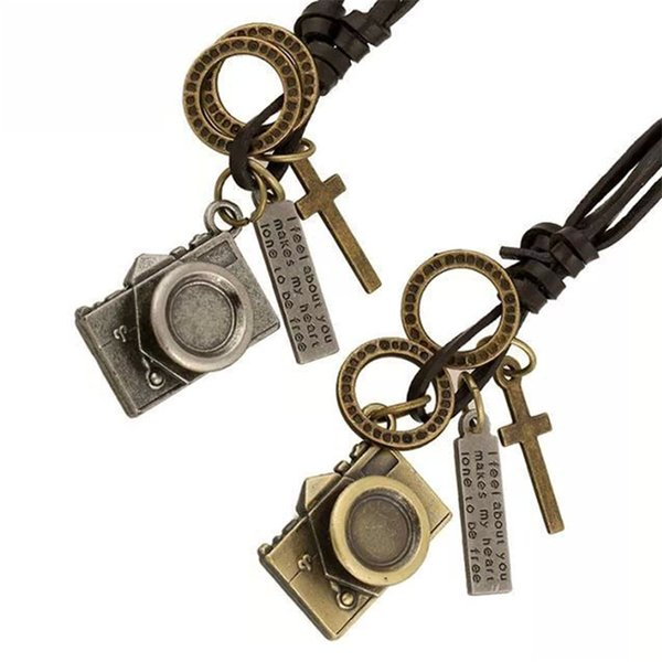New Trendy Men Leather Pendant Necklace Vintage Punk Camera Charm Long Leather Chain Necklaces Female Male Jewelry Party Gift