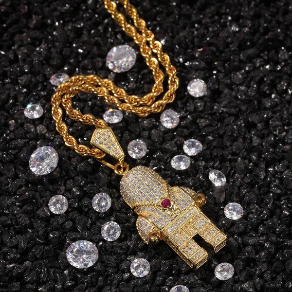Creative male and female accessories with diamond-studded astronaut hip-hop Pendant Necklace