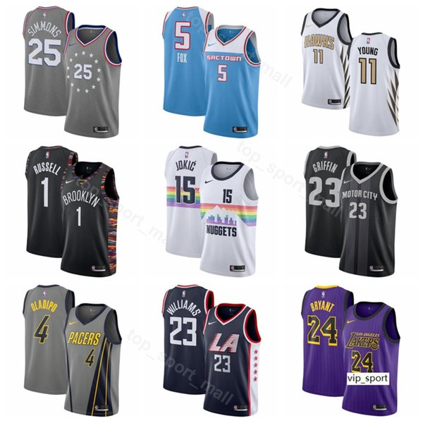 pretty nice 281f0 78c17 2019 2019 Basketball DAngelo Russell Edition City Jerseys DeAaron Fox Trae  Young Nikola Jokic Blake Griffin Lou Williams Shirts Uniform From ...