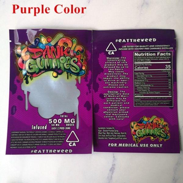 Dank Gummies bolsas de color púrpura
