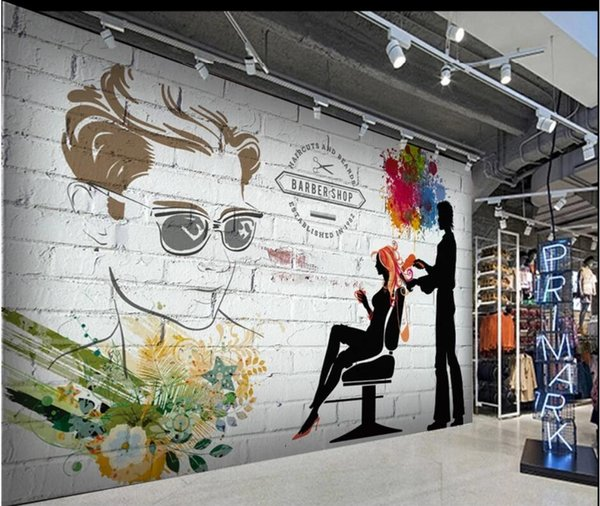 3d Wallpaper Custom Photo Brick Wall Silhouette Barber Shop Beauty Salon Tooling Background Home Decor Living Room Wallpaper For Walls 3 D Wallpapers