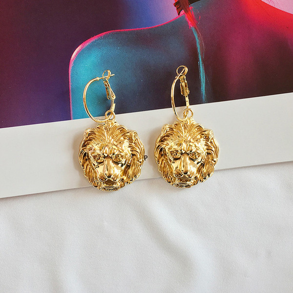 Women Lion Head Earring Hip Hop Style Animal Lion Earring for Party Fashion Jewelry Gift for Love Epacket Shipping