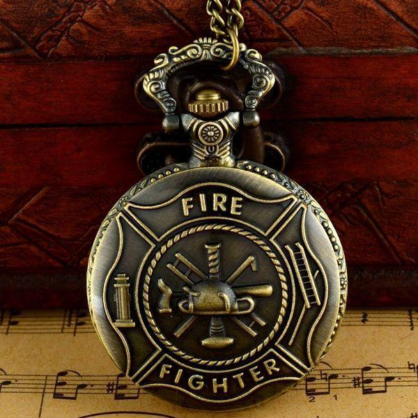 Bronce Steampunk Style Fob Watch Fire Fighter Reloj de cadena vintage con collar de cuarzo bolsillo hombres colgante Relojes de las mujeres