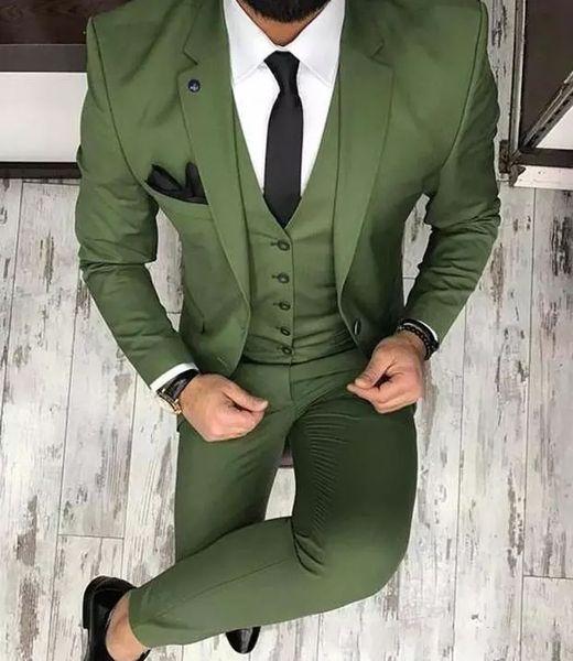 Neue olivgrüne Herrenanzüge für Bräutigam Smoking 2019 Revers Revers Slim Fit Blazer Drei Stück Jacke Hose Weste Mann Maßgeschneiderte Kleidung