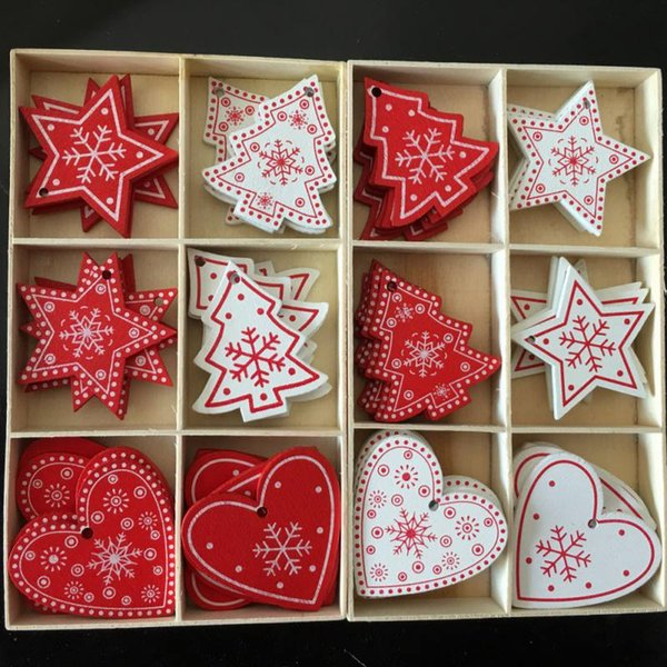 Red Christmas Wooden Gifts Love Heart Star Tree Hanging Signs Christmas Tree Hanging Decor Xmas Home Bar Shop Decor 10pcs