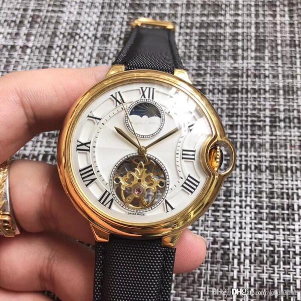 2018 neue Verkauf Top Fashion BALLON Herrenuhr Automatik Uhrwerk 316 Delicate Steel Gehäuse Tourbillon weißes Gesicht Uhr Männer Armbanduhr