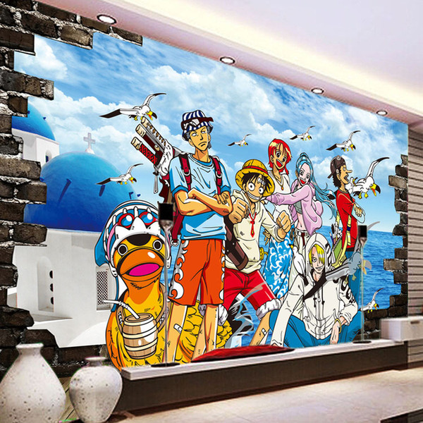 Japanese Anim Wall Mural One Piece Photo Wallpaepr Custom 3d Wallpaper Luffy Wall Covering Kids Boys Bedroom Living Room Sofa Tv Background Desktop