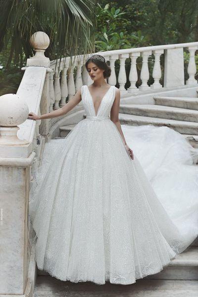 2019 Cheap White Lace V Neck Princess Ball Gown Milla Nova Wedding Dress vestido De Casamento African Nigerian Lace Bridal Gown Custom Dress