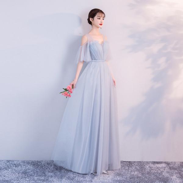 gris bleu robe de demoiselle d'honneur Robe longue maille banquet de mariage Voir Retour de
