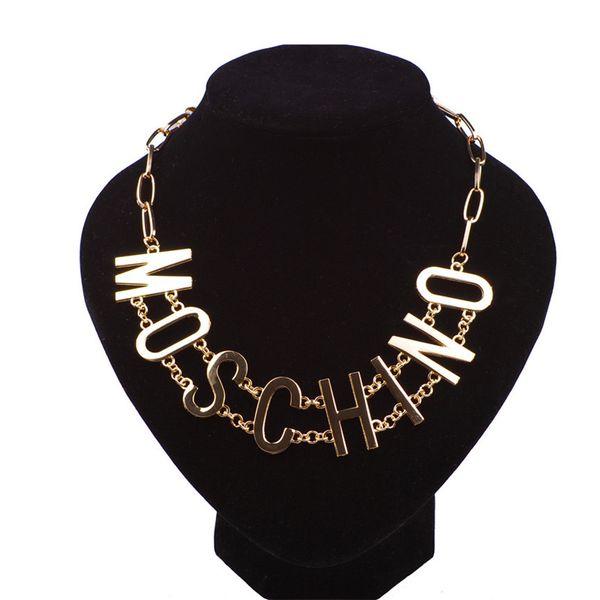 Collar de estilo punk para mujer con logotipo Collar de aleación de marca de moda para mujer Collar de estilo hip hop para bar