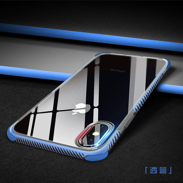 2 em 1 super anti-knock soft tpu limpar phone case, à prova de choque transparente proteger capa para iphone 6 6 s 7 8 plus x xr xs max