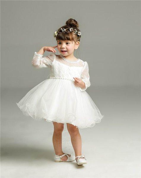 Nouveau bébé fille robe de baptême infantile filles princesse dentelle manches longues baptême robe enfant en bas âge bébé vêtements 8515