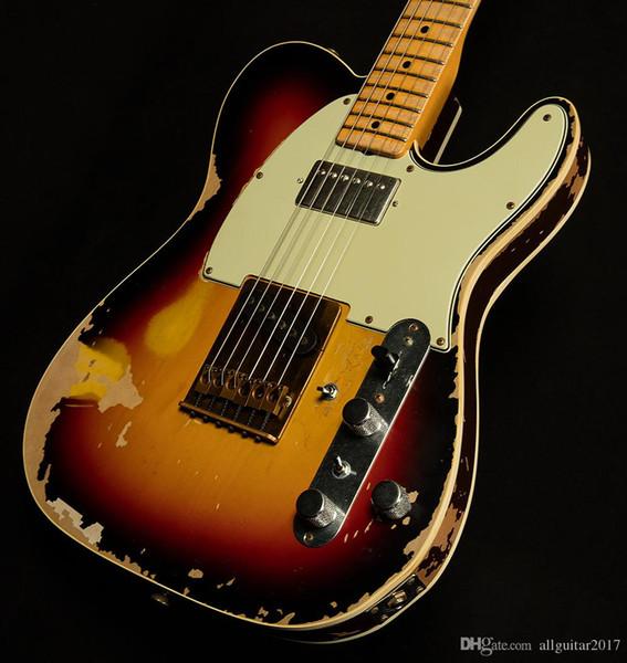 New Andy Summers Tribute Relic envelhecido guitarra eléctrica 10S Sunburst Finish Custom Shop Limited Edition Masterbuilt Vintage Preto Dot embutimento