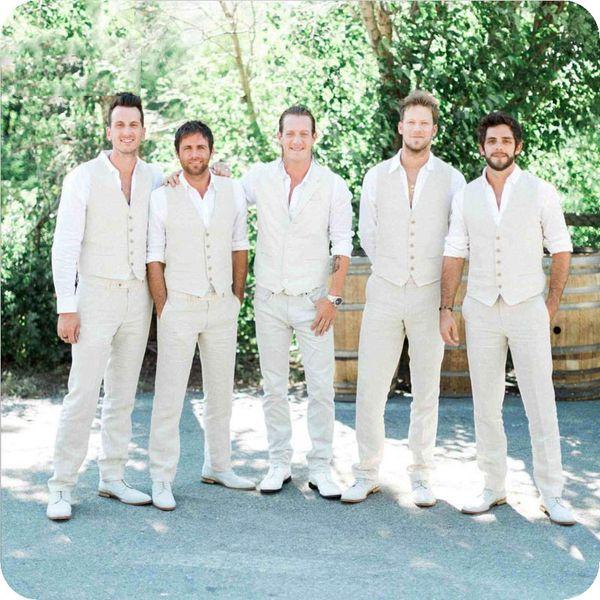 Linen Men Suits for Wedding Mens Classic Suits Slim Fit Groom Tuxedo 2Piece Vest+Pant Made Beach Wedding Ivory