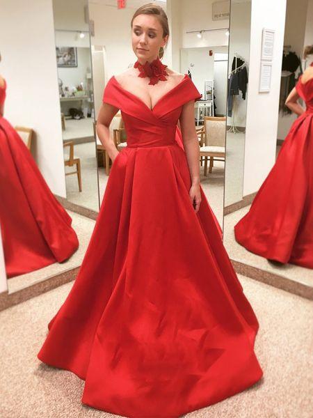 Red Long Prom Dresses 2019 A Line Off The Shoulder Satin Floor Length Women Formal Evening Dresses Vestido De Festa DP0318