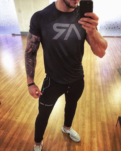 Camouflage T-Shirt Outdoor Fitness Sport Summer Men Black AR Logo Gym Running Workout Training Cloth Short Sleeve Quick Dry Sportswear
