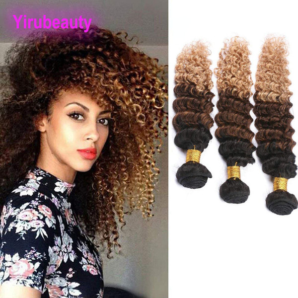 Malaysian Wholesale Human Hair Extensions 3 Bundles Ombre 1B 4 27 Deep Wave Curly 1B / 4/27 Reines Haar 8-28inch
