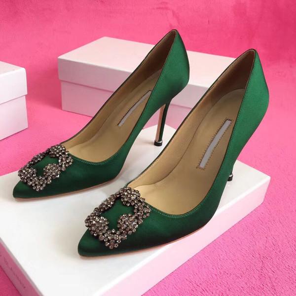 Designer Party Wedding Shoes Mariée Femmes Dames Sandales Mode Sexy Chaussures Habillées Bout Pointu Talons Hauts En Cuir Glitter Pompes