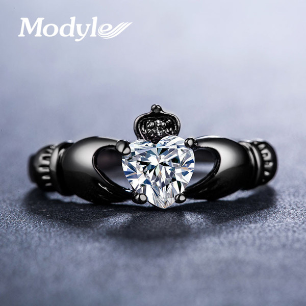 Modyle Love Heart Design Crown Hand Heart Clah-Duh Claddagh Rings For Women Christmas Gift Anel Fashion Black Gold Color Bague