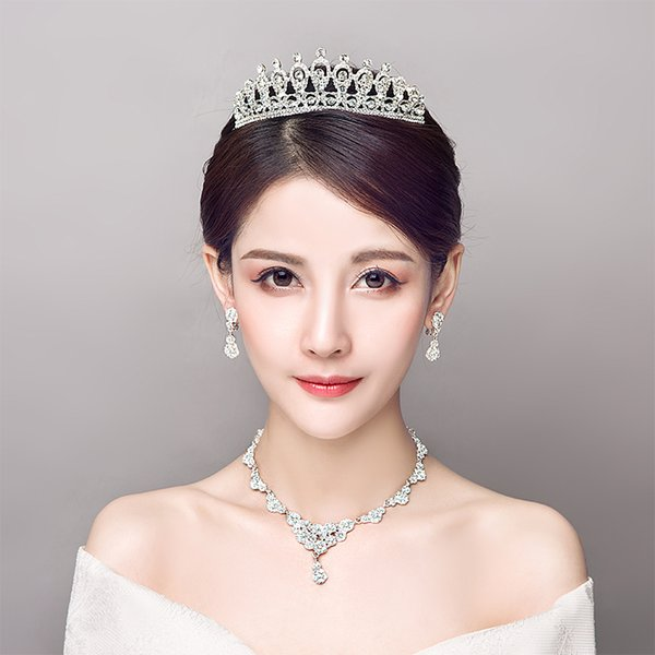 Clear Rhinestone Wedding Jewelry Set Fashion Korean Women Necklace Earrings Bijoux Princess Bridal Tiara Headdress Ornament Gift
