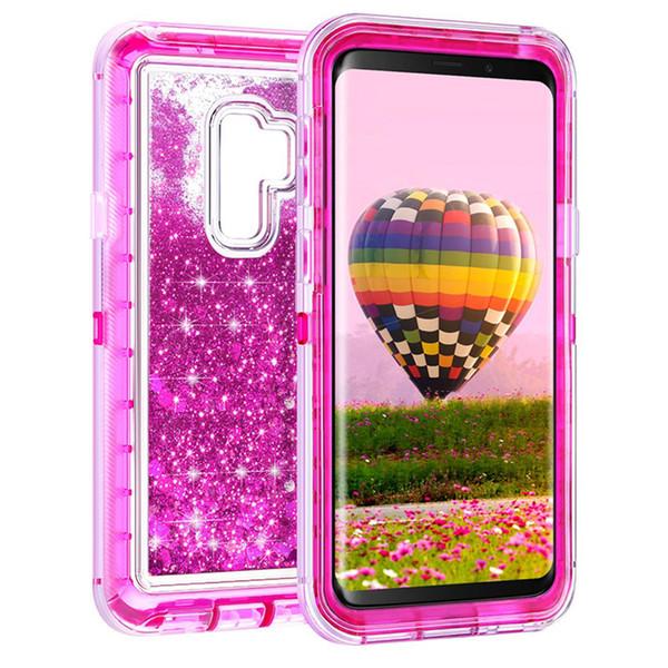 Para Samsung S9 Defender caso luxuoso Glitter líquidos Mulheres Case Capa de proteção corpo Heavy Duty à prova de choque completa para Samsung Galaxy S9 S9plus