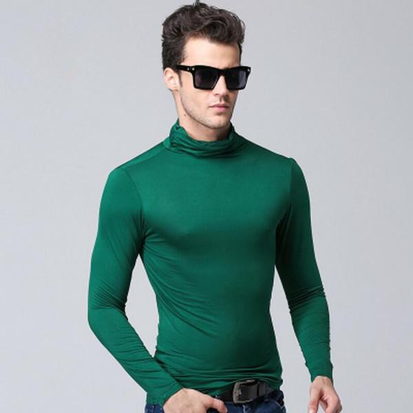 мужчины футболка с длинным рукавом футболки водолазки футболки мужчина тонкие зимние весной моды случайные модальный футболки мужские тенниски вино красное