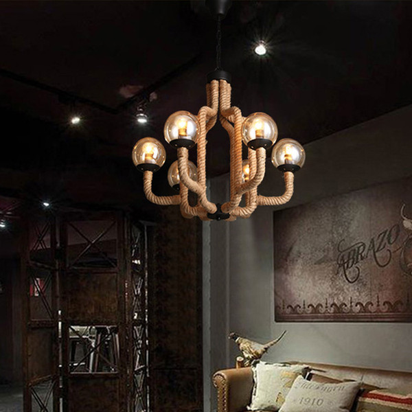 Modern LED Chandelier Living Room Lighting Rope Fixtures Industrial Retro  Bedroom Hanging Lights Dining Room Deco Suspended Lamp Stained Glass  Pendant ...