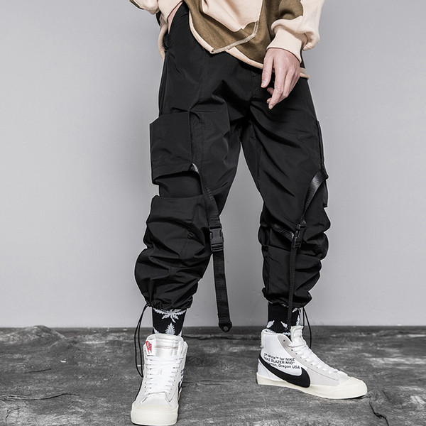 Erkekler Kurdela Renk Blok Siyah Cep Kargo Pantolon 2019 Şerit Harem Joggers Harajuku Sweatpant Hip Hop Pantolon