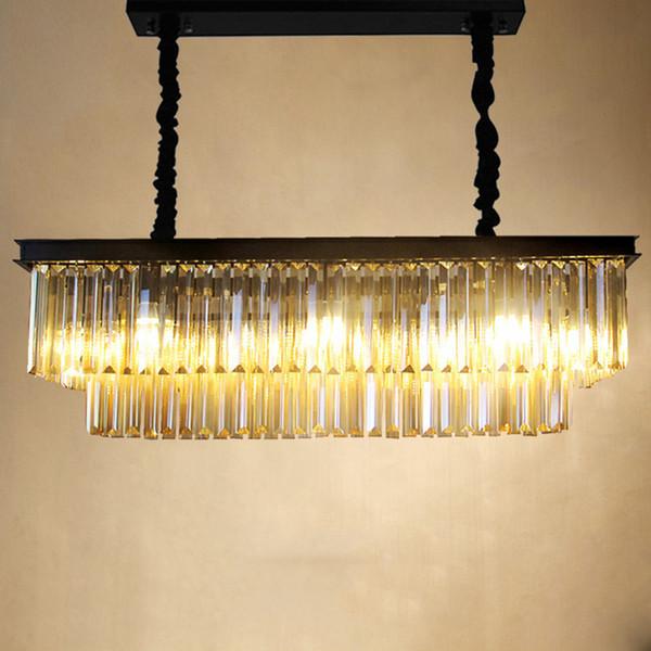 JESS Modern Rectangular Lustre Crystal Chandelier Lighting Crystal Chandeliers Luminaria De Techo Hanglamp LED Lighting Fixtures E14