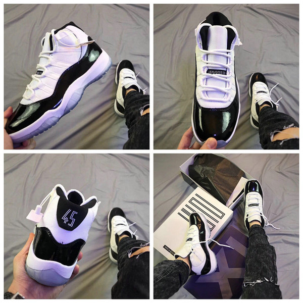 2018 New Arrival 11s XI Concord With 45 Mens Basketball Shoes,Top Quality 11 Man Athletic Sport Sneakers 378037-100 Size 7-12 With Box