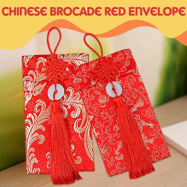 Pacchetti di denaro nodo cinese squisito per buste rosse broccato Dragon Phoenix Pattern per buste rosse cinesi portafogli
