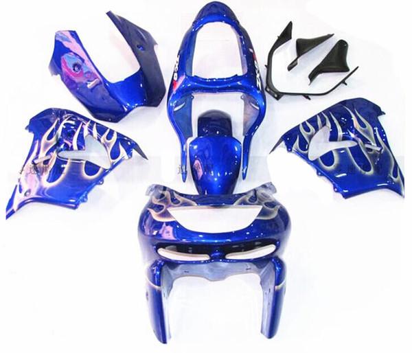 New ABS bike fairings kit for Ninja Kawasaki ZX9R 1998 1999 fairing motorcycle parts ZX-9R 98 ZX 9R 99 Custom blue Flame silver