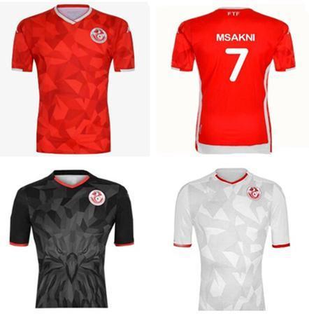 New 2019 Tunisia Soccer Jerseys 19 20 Home Red #7 MSAKNI #10 KHAZRI Soccer Shirt KHALIFA SASSI MAALOUL Tunisia Football uniform