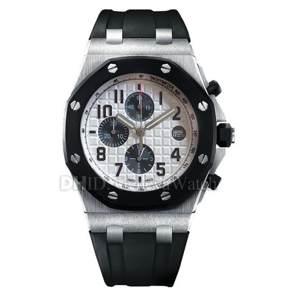 Sportuhr Chronograph Quarz Armbanduhren Herren Designeruhren Saphirglas Schwarzes Gummiband Weißes Zifferblatt Luxusuhr Montre de Lux