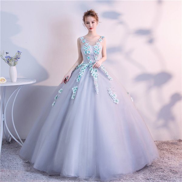 2019 Spring Ball Gown Scoop Neck Tulle Flowers Appliques Abiti Quinceanera Robe De Bal 15 Sweet Sixteen Debutante