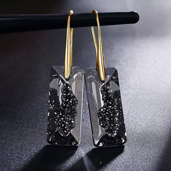 Baffin Noir Cristaux De Swarovski Or Couleur Drop Boucles D'oreilles Pour Les Femmes Parti Rétro Vintage Rectangle Pendentif Déclaration Bijoux SH190730