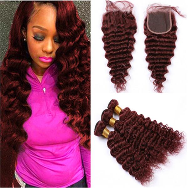 # 99J Wine Red Virgin Hair Lace Closure с Связки Бразильская Deep Wave бургундских переплетений Наращивание волос человека с Lace Closure Кусок 4x4
