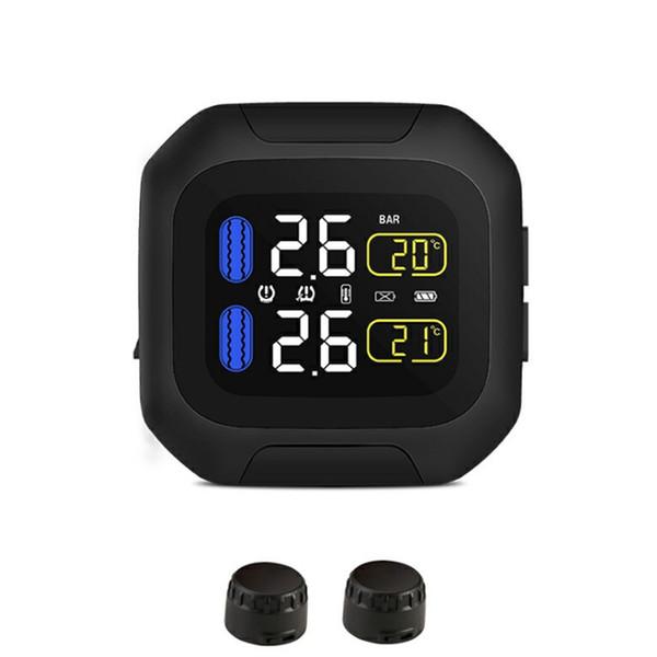 Carregamento USB em tempo real Com 2 Sensor Fácil de Instalar Monitor de Pressão Dos Pneus Da Bicicleta Da Motocicleta Ferramenta Sistema de Alarme TPMS Sem Fio