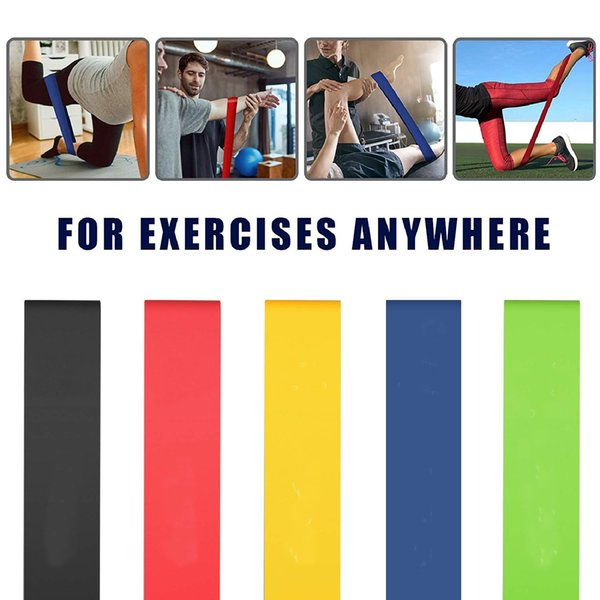 5 Colors Team Sports Resistance Bands Exercise Band Yoga Loop Bands for Workout Flexbands Physical Therapy Legs Arms Strength Training M225F