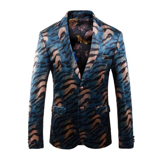 Вельвет Blazer Мужчины 2018 Тонкий Мужские Fit леопардовый Blazer Классический зеленый Повседневный костюм куртка Человек Пром Wear