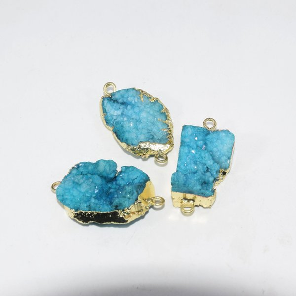Free Shipping Fashion Jewelry Blue natural geode crystal quartz druzy connector for necklace raw stone charm connector women
