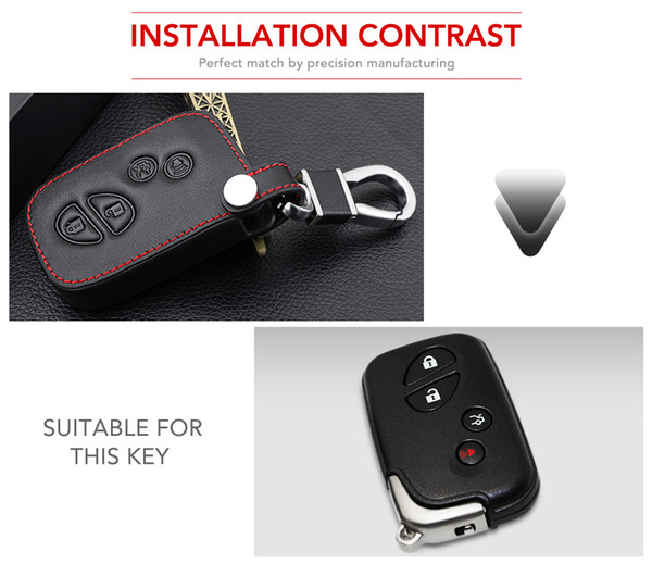 4 Buttons Remote Genuine Leather Key Fob Cover Case For Lexus IS250 ES240 ES350 RX270 RX350 RX300 Keyless Holder