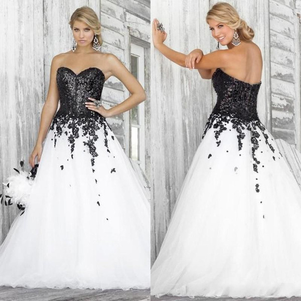 Black And White Ball Gown Wedding Dresses 2020 Sweetheart Neckline Lace  Applique Sequined Plus Size Bridal Gowns Custom Wedding Dress Plus Size ...