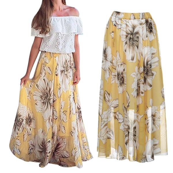 2019 Vente Chaude Jupe Femmes Floral Jersey Gypsy Longue Maxi Jupe Complète Plage Dropshipping falda larga mujer # VB25