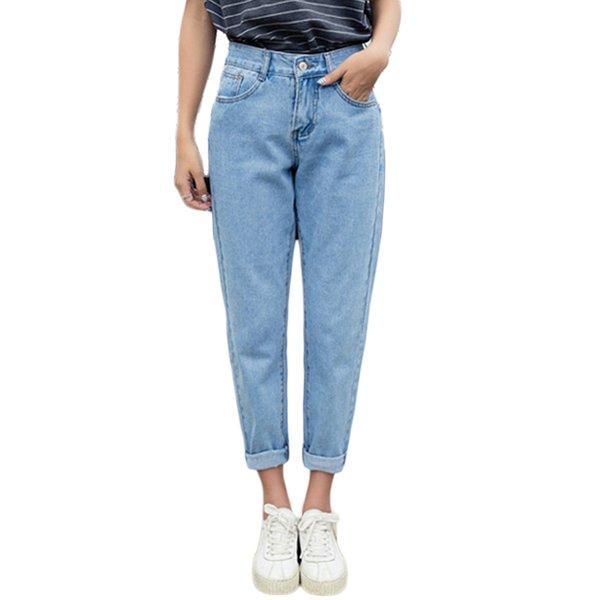 Kadınlar için 2019 Moda Rahat Yüksek Bel Kot Kalem Pantolon Slim Fit Vintage Jeans Gevşek Pantolon Kovboy taklit Pantolon ~