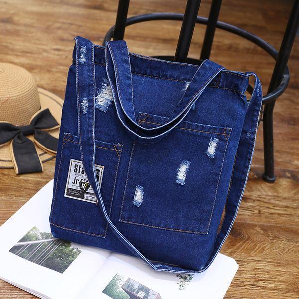 New Fashion Women Denim Shoulder Bag Borsa Cowgirl Borsa per la spesa femminile Lady Jeans strappati Design School Books Borsa Casual Totes